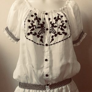 White silk boho shirt
